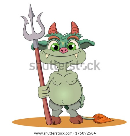 Cartoons funny imp with a trident in a hand. - stock vector