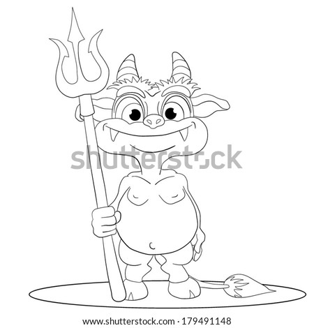 Cartoons funny imp with a trident in a hand.coloring book. - stock vector