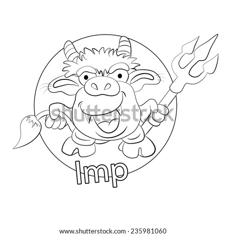 Cartoons funny imp with a trident in a hand. Coloring book. - stock vector