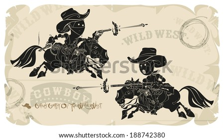 Cartoons horse cowboys in the Wild West, vector