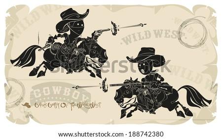 Cartoons horse cowboys in the Wild West, vector - stock vector