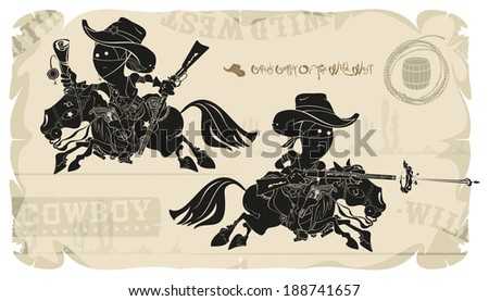 Cartoons horse cowboys of the Wild West, vector