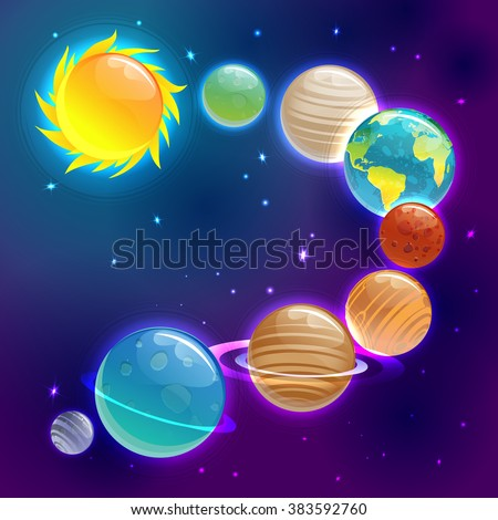 Cartoons planets colorful vector set against the starry sky. Solar System Planets. Sun, Mercury, Venus, Earth, Mars, Jupiter, Saturn, Uranus, Neptune. - stock vector
