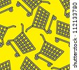 carts on yellow seamless pattern - stock vector