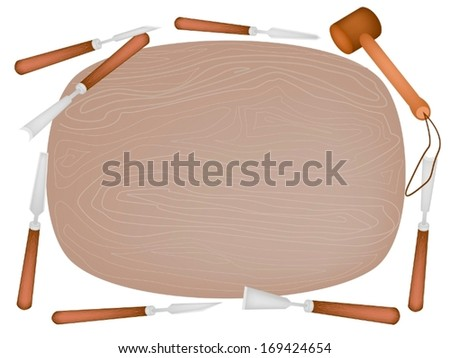 Carving Tools and A Wooden Mallet Laying Around A Piece of Wood For Create A Sculpture Isolated on White Background.  - stock vector