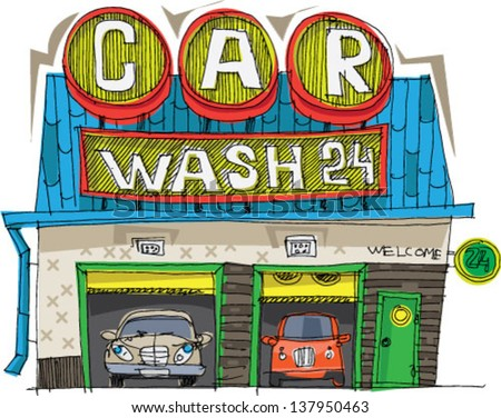carwash station - cartoon