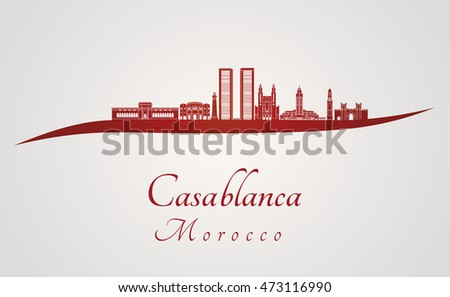 Casablanca skyline in red and gray background in editable vector file