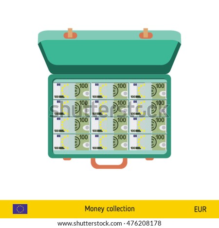 Case full of money on white background. Euro banknote. Business concept vector illustration.