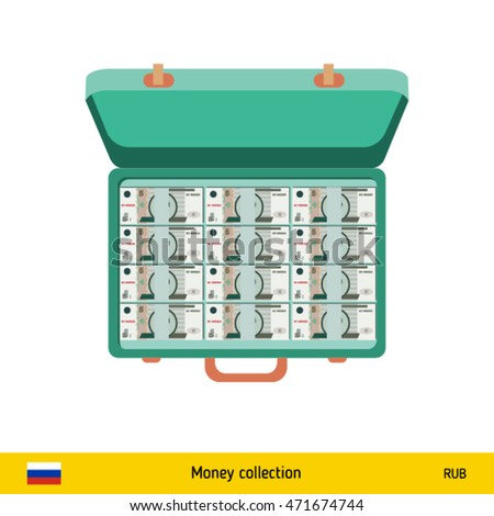 Case full of money on white background. Russian Ruble banknote. Business concept vector illustration.