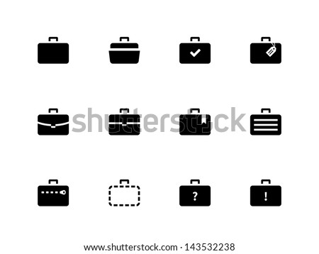 Case icons variants of briefcase on white background.. Vector illustration. - stock vector