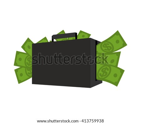 Case with money. Suitcase full of dollars. Cash in his bag. Wealth