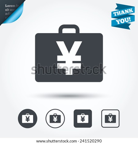 Case with Yen JPY sign icon. Briefcase button. Circle and square buttons. Flat design set. Thank you ribbon. Vector - stock vector