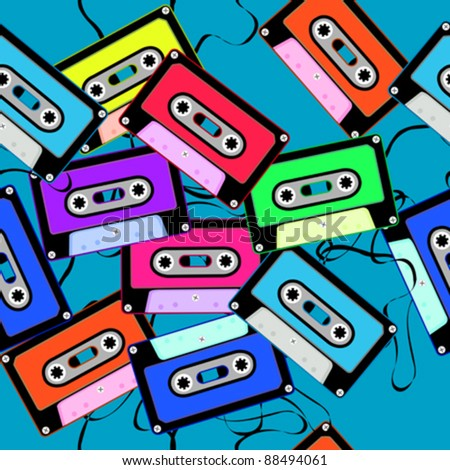 casettes seamless pattern - stock vector