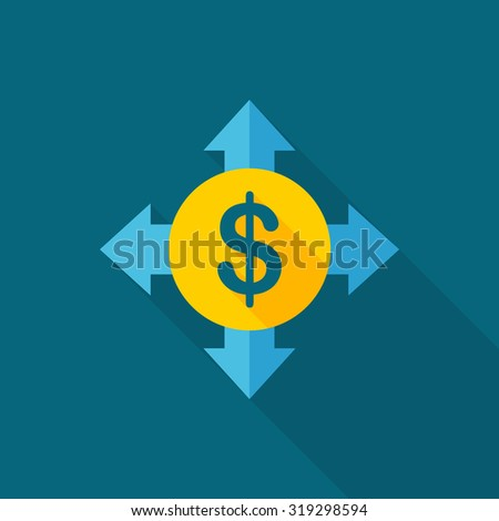 Cash flow icon, vector illustration. Flat design style with long shadow,eps10 - stock vector