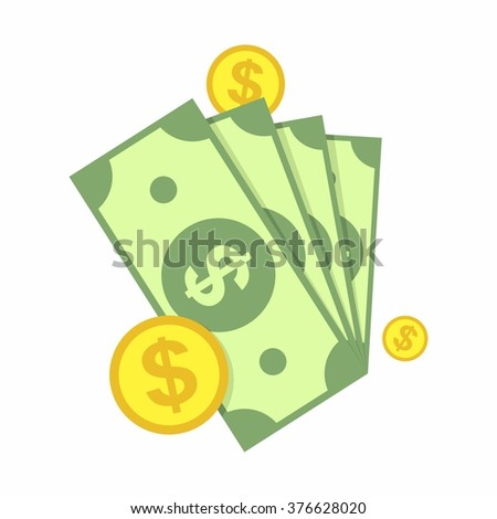 Cash, Green Dollars and Coin Icon isolated on white background. Money Vector Illustration - stock vector