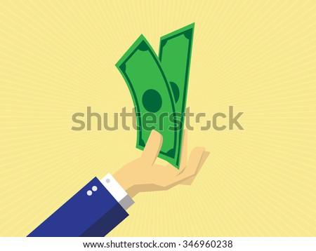 cash money in hand, pay or buy, vector - stock vector