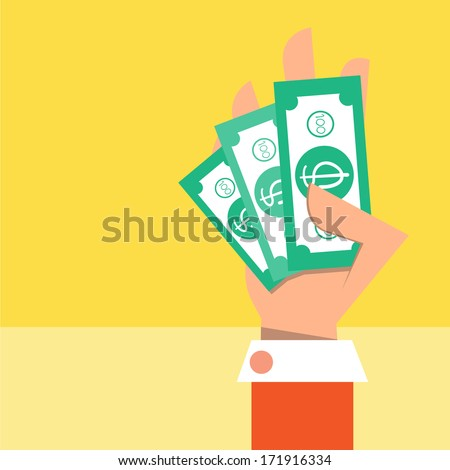 Cash on hand,Vector cartoon business - stock vector