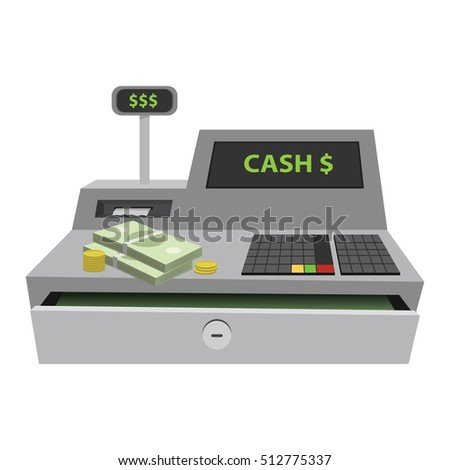 Cash register flat illustration.