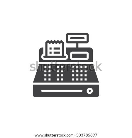 Cash register icon vector, filled flat sign, solid pictogram isolated on white, logo illustration