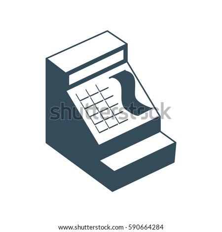 Cash register isolated. Financial accessory store on white background