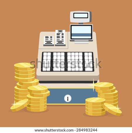Cash register. Vector flat illustration - stock vector