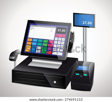 Cash register with bar code reader, credit card reader and receipts printer