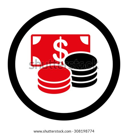 Cash vector icon. This flat rounded symbol uses intensive red and black colors and isolated on a white background.