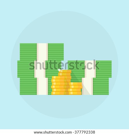 Cash vector illustration.  Stack of cash design in flat style. Pile of cash concept. Stacks of cash with a pile of coins.  - stock vector