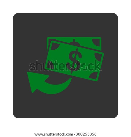 Cashback icon. This flat rounded square button uses green and gray colors and isolated on a white background.