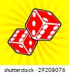 Casino abstract Two Red dices rendered - stock vector