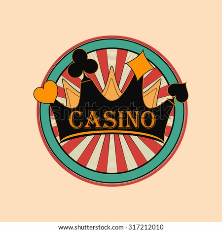 Casino and gambling badges or emblems each with casino chips or tokens and crown - stock vector