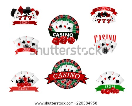 Casino and gambling badges or emblems each with word  Casino decorated with a hand of aces playing cards, dice, roulette board, casino chips or tokens and lucky number 777 - stock vector