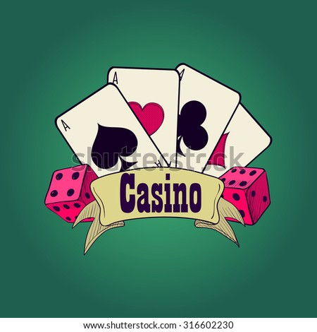 Casino and gambling badges or emblems each with word  Casino decorated with a hand of aces playing cards, dice - stock vector