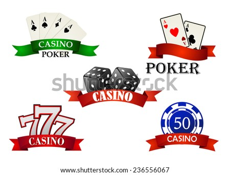 Casino and gambling emblems or symbols with poker cards, lucky signs, casino chips and dice