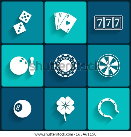 Casino and Gambling Flat Icons for Web and Mobile Applications - stock vector
