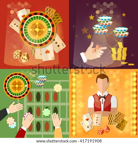 Casino and gambling icon set games symbols casino chips croupier vector illustration - stock vector
