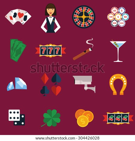 Casino and gambling icons set with slot machine and roulette flat isolated vector illustration  - stock vector