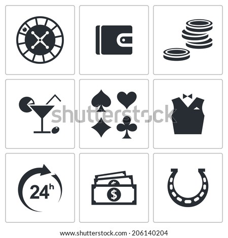 Casino and luck icon collection - stock vector
