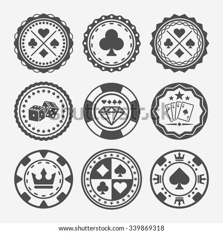 Casino and poker chips set of vector round black badges  - stock vector