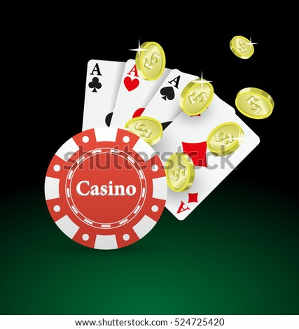Casino background playing cards with coins