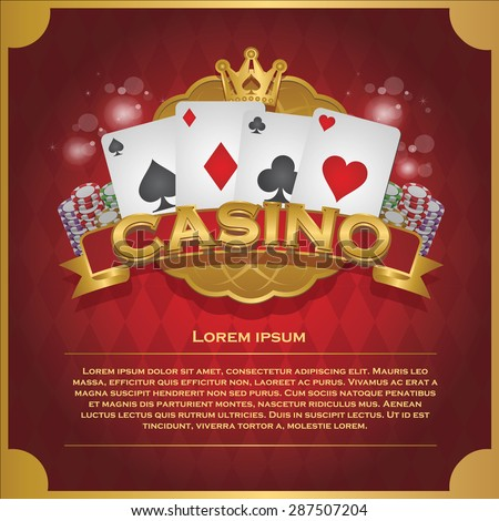 Casino background poker and casino label