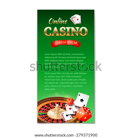 Casino background. Vertical banner, flyer, brochure on a casino theme with roulette wheel, game cards and dice. Vector illustration  - stock vector