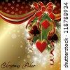 Casino background with poker christmas balls, vector illustration - stock photo