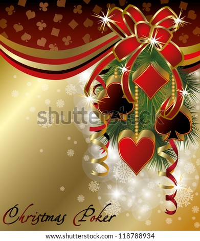 Casino background with poker christmas balls, vector illustration