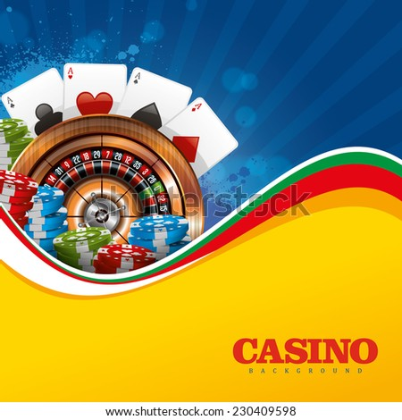Casino Background  with Roulette Wheel, Cards and Chips - stock vector