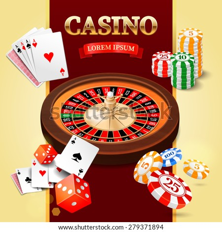 Casino background with roulette wheel, chips, craps and cards. Vector illustration. - stock vector