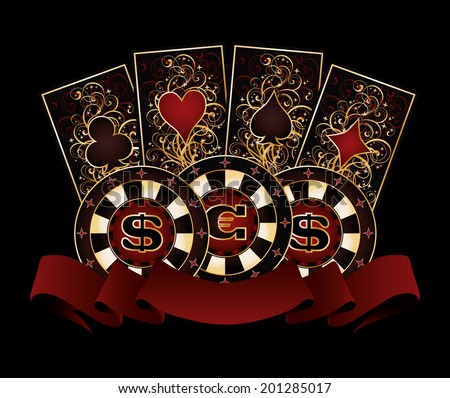 Casino banner with poker cards and chips, vector illustration