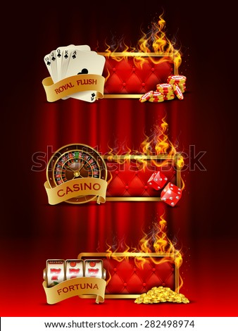 Casino banners set with cards, chips, slot machine, dice, roulette against curtain backdrop. - stock vector
