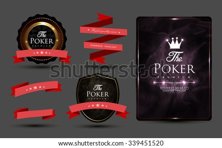 Casino card design collection-vintage-casino-poker-vip-ace - stock vector