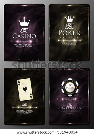 Casino card design collection-vintage style- elegant-poker-vip - stock vector